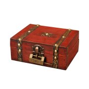 Wooden storage box vintage style Metal Lock box for jewelry & book packaging small retro Desktop crafts wedding gifts