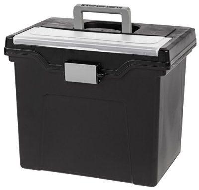 IRIS USA, Inc. HFB-24E Portable Letter Size File Box with Organizer Lid, 4 Pack, Black, Large,