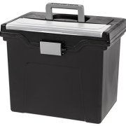 IRIS USA, Inc. HFB-24E Portable Letter Size File Box with Organizer Lid, 4 Pack, Black, Large,