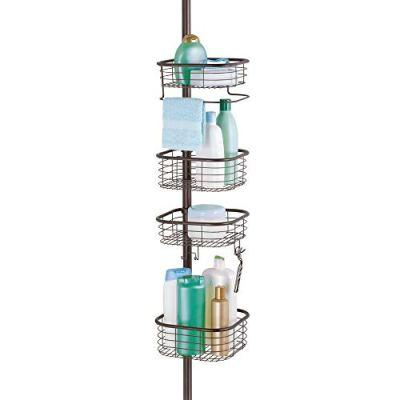 mDesign Metal Bathroom Shower Storage Constant Tension Pole Caddy