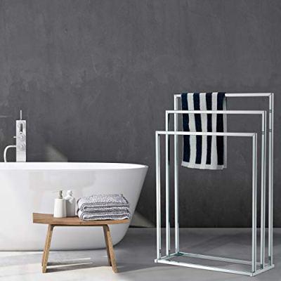 MyGift Freestanding Towel Rack, 3 Tier Metal Towel Bar Stand