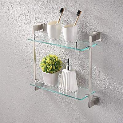 KES Bathroom Glass Shelf 2 Tier 16-Inch Tempered Glass Shower Caddy Bath