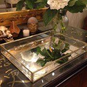 Hersoo Gold Glass Spacious Vanity Tray/Ornate Decorative Perfume/Elegant