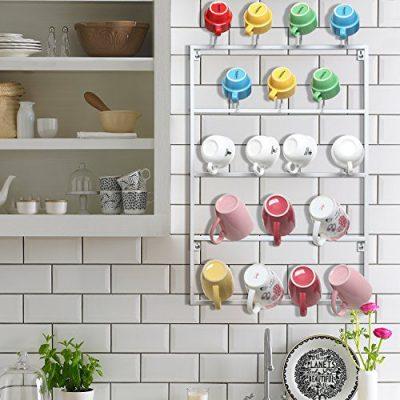 5 Tier White Metal Wall Mounted Kitchen Mug Hook Display/Cup Storage