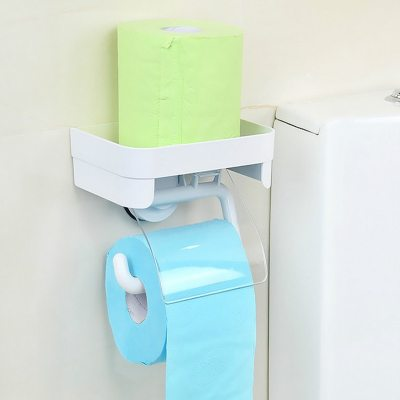 Dehub Toilet Paper Holder With Storage Shelf Suction Cup Toilet Paper