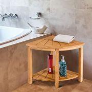 Giantex Bamboo Corner Shower Bench W/Shelf for Bathroom Spa Bath