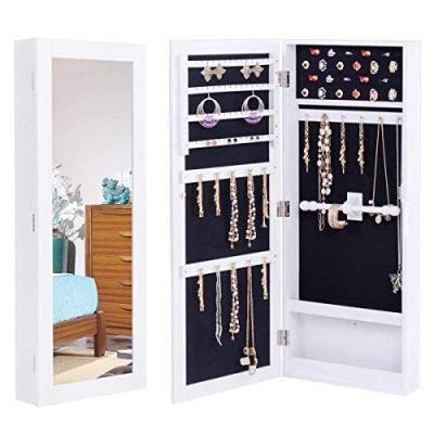 Giantex Jewelry Armoire Cabinet Mounted Mirrored Jewelry Organizer Storage