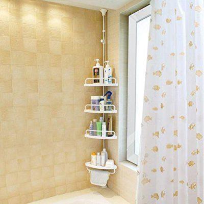 BAOYOUNI 4 Tier Bathroom Corner Shower Caddy Pole