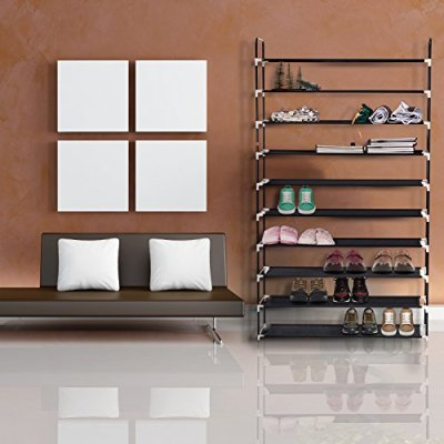 MaidMAX 10 Tiers Free Standing Shoe Rack for 50 Pairs of Shoes Organizer