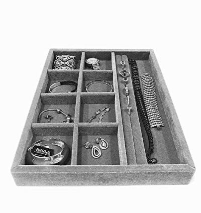 Jewelry Box drawer insert, Jewelry Organizer Tray, Wood and Velvet Tray Organizer