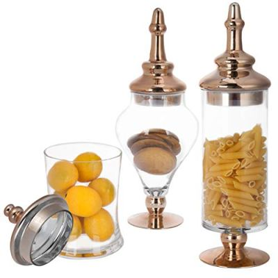 MyGift Set of 3 Antique-Style Glass Apothecary Jars