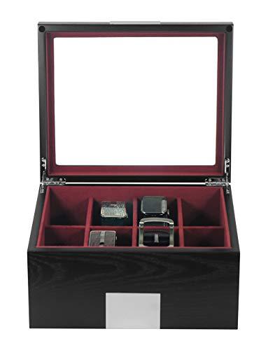 DecoreBay Executive Luxury Black Wood Belt Box Valet Organizer