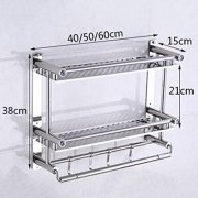 ZH Shower Caddies Stainless Steel Bathroom Shelf with Towel Bar