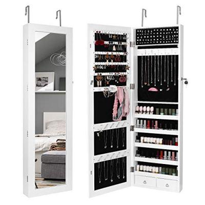 Homfa Jewelry Cabinet Lockable Jewelry Armoire Mirror Organizer Storage