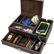 HOUNDSBAY Admiral Big Dresser Valet Box & Mens Jewelry Box Organizer
