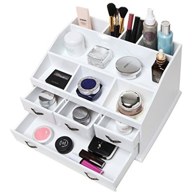 Shabby Chic White Wood 8 Trays 4 Storage Drawers Jewelry/Makeup