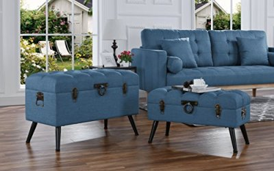 2-Piece Classic Tufted Linen Fabric Storage Chests