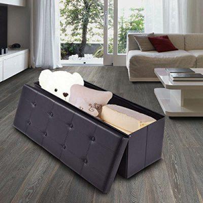 "Giantex 45"" Folding Storage Ottoman Bench Tufted Faux Leather Coffee"