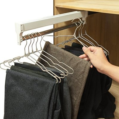 Pull-Out Closet Valet Rod Adjustable Wardrobe Clothing Rail
