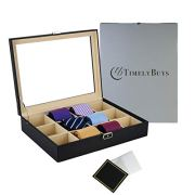 TimelyBuys Tie Display Case for 12 Ties, Belts, and Men's Accessories
