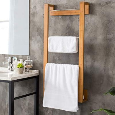 MyGift 42-Inch Bamboo Wall-Mounted Towel Holding Rack