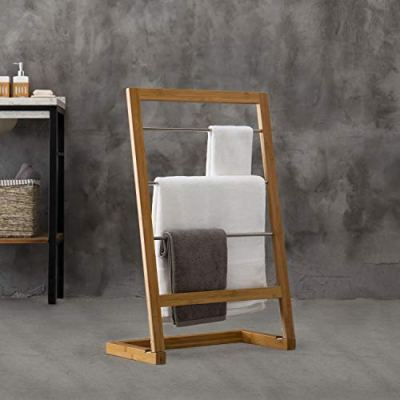 MyGift Natural Bamboo Wood Freestanding 3-Rung Towel Rack
