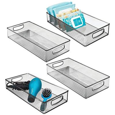 mDesign Plastic Stackable Storage Container Bin with Handles
