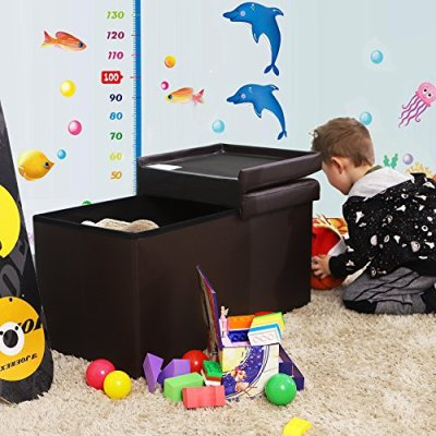 SONGMICS 30 Inches Folding Storage Ottoman Bench with Flipping Lid