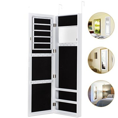 HERRON Wall Jewelry Cabinet Armoire with Mirror