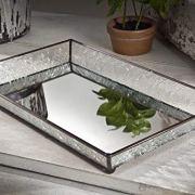 J Devlin Tra 106-1 Vintage Glass Jewelry Tray with Mirrored Bottom