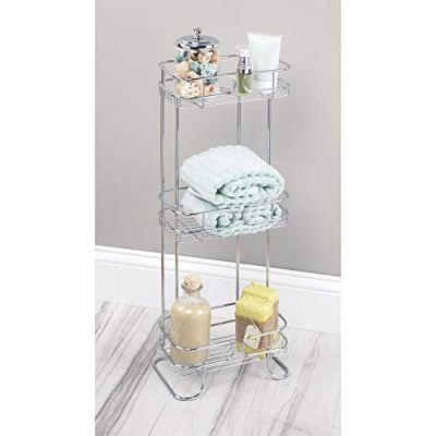 mDesign Rectangular Metal Bathroom Shelf Unit - Free Standing Vertical Storage