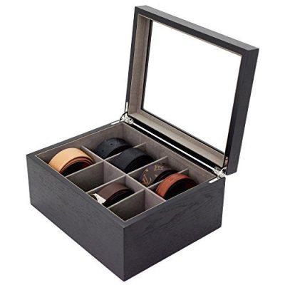 Tech Swiss Belt Box Valet Organizer 8 XL Compartments Black Glass Top