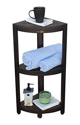 Decoteak Oasis 3-Tier Teak Corner Shower Shelf