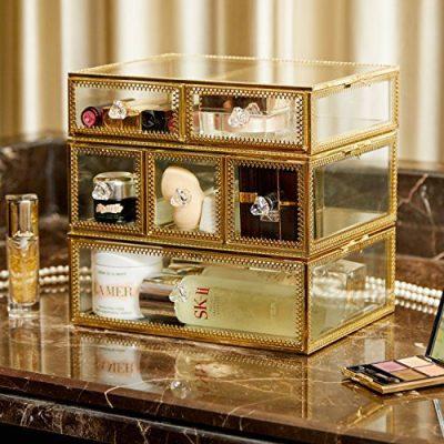 PuTwo Vintage Makeup Organizer 3 Layers 6 Drawers Detachable