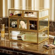 PuTwo Vintage Makeup Organizer 3 Layers 6 Drawers Detachable