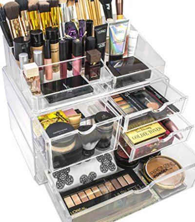 Sorbus Makeup Case Acrylic Cosmetic Jewelry Storage Display Set