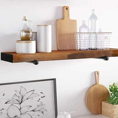 Floating Wall Shelf with Industrial Pipe Brackets, Solid Wood
