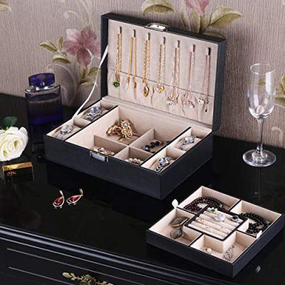 BEWISHOME Jewelry Box Organizer with 4 Watch Case Removable Tray Jewelry