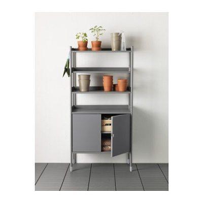Ikea Indoor/Outdoor Gray Shelving Unit w/Cabinet