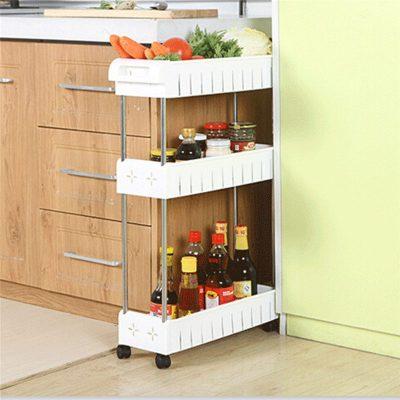 Removable Storage Rack Shelf with Wheels Bathroom/Kitchen/Refrigerator