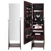 Seekavan Jewelry Cabinet 6 LED Standing Mirrored Armoire Lockable Organizer