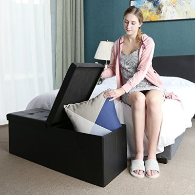 SONGMICS 43 Inches Folding Storage Ottoman Bench