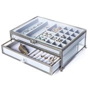 PuTwo Jewelry Boxes 22 Sections Metal Glass Jewelry Organizer