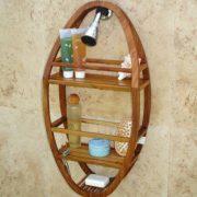 AquaTeak Patented Moa Oval Teak Shower Organizer