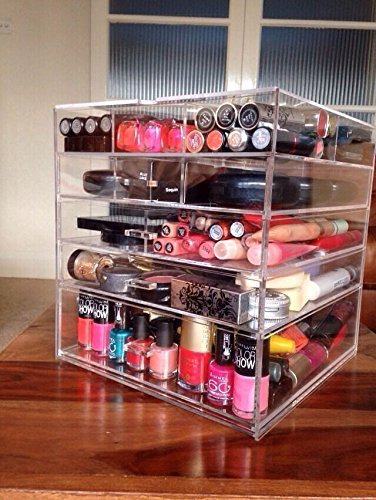 Cq acrylic Large 5 Drawers and 11 Grids Acrylic Makeup Organizer