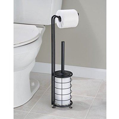 InterDesign Forma Free Standing Toilet Paper Holder and Toilet Bowl
