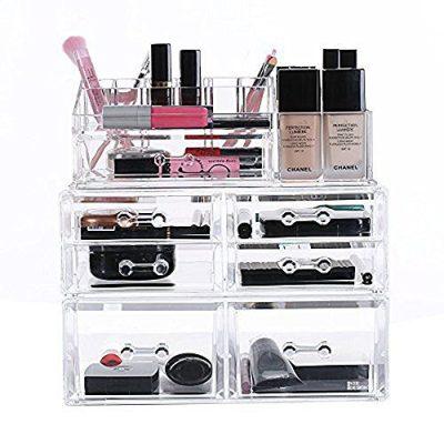 Ikee Design Deluxe Stackable 3-Piece Premium Makeup Storage