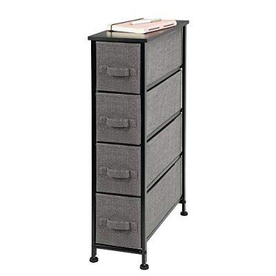 mDesign Narrow Vertical Dresser Storage Tower - Sturdy Metal Frame