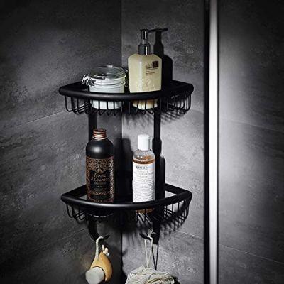 ZH Shower Caddies Black Bathroom 2 Tier Corner Shelf and Shower Caddy Basket