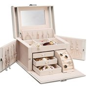 Vlando Faux Leather Jewelry Box Organizer, 6 Colors Available